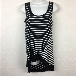 Cable & Gauge Tunic Tank Top Small Black White